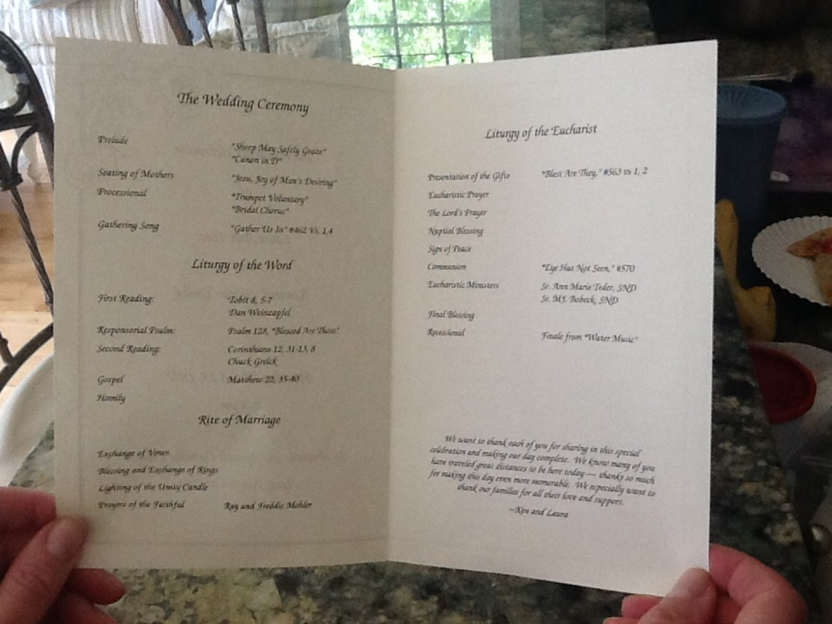 Inside view of a Catholic wedding program