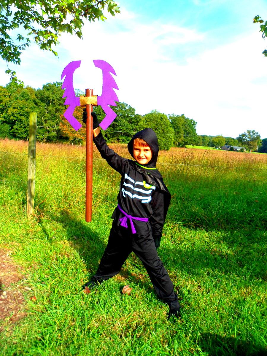 Our finished homemade Ninjago costume.