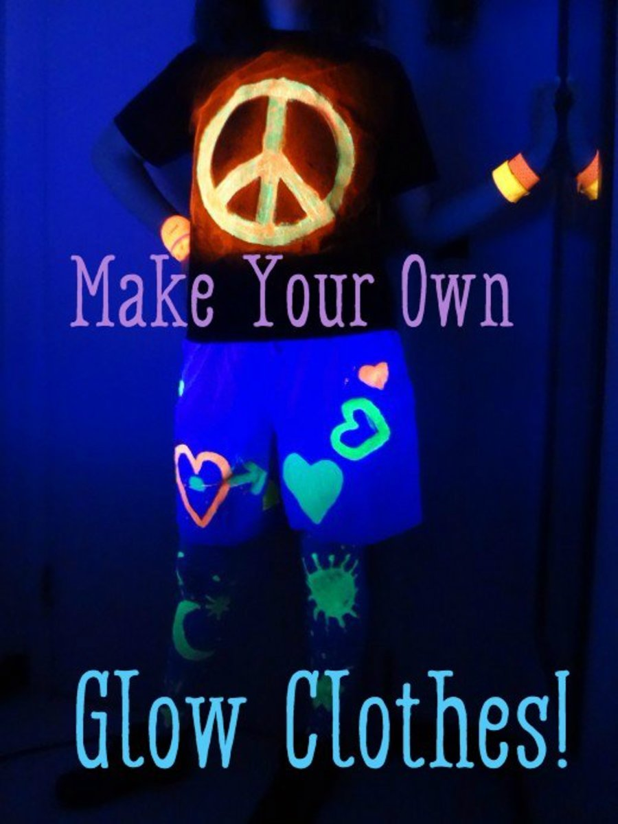 Clothes decorated with glow-in-the dark-paint.