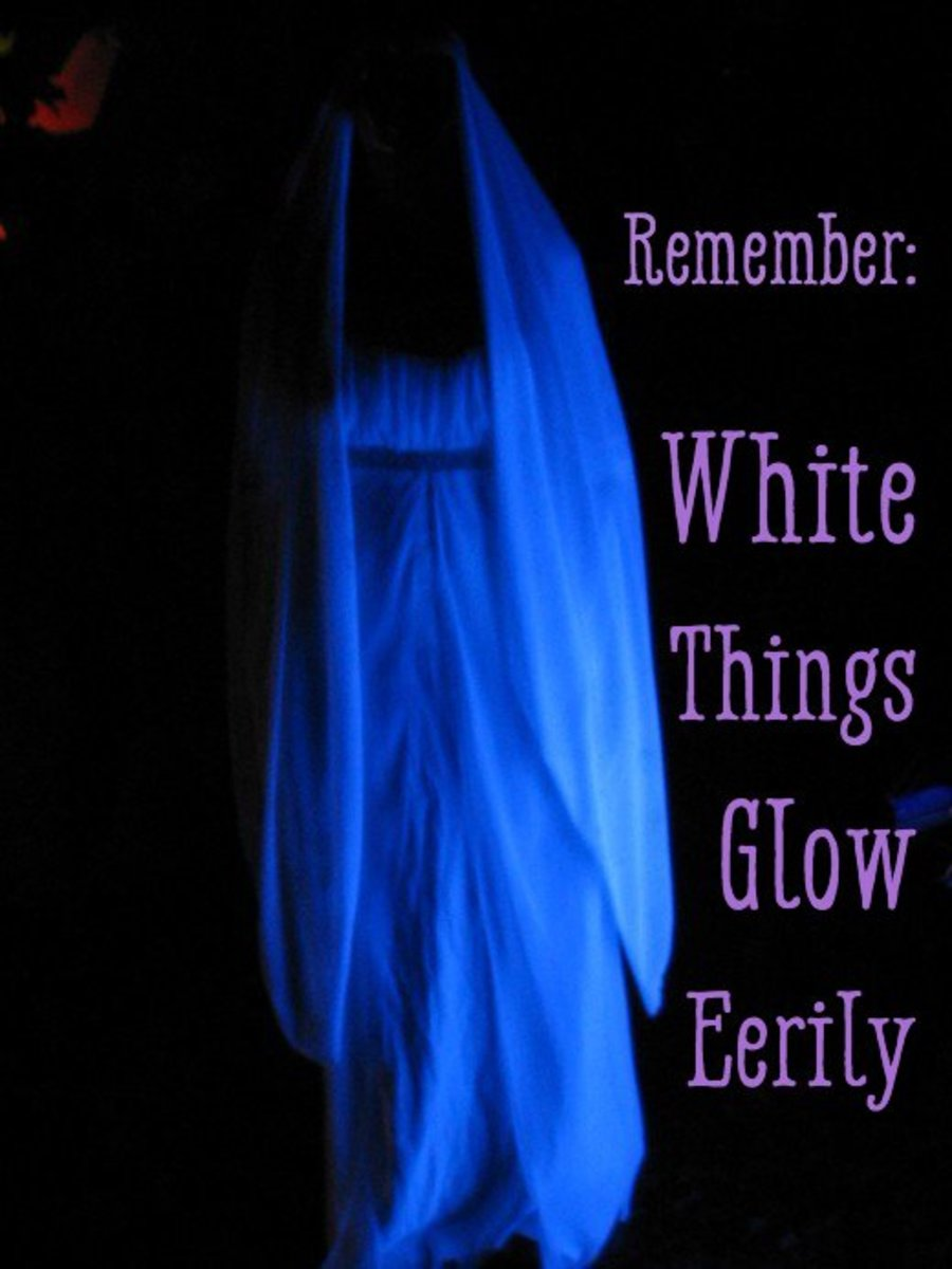 This white costume glows eerily under a black light.