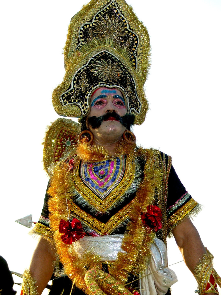 An actor dressed for the role of Ravana