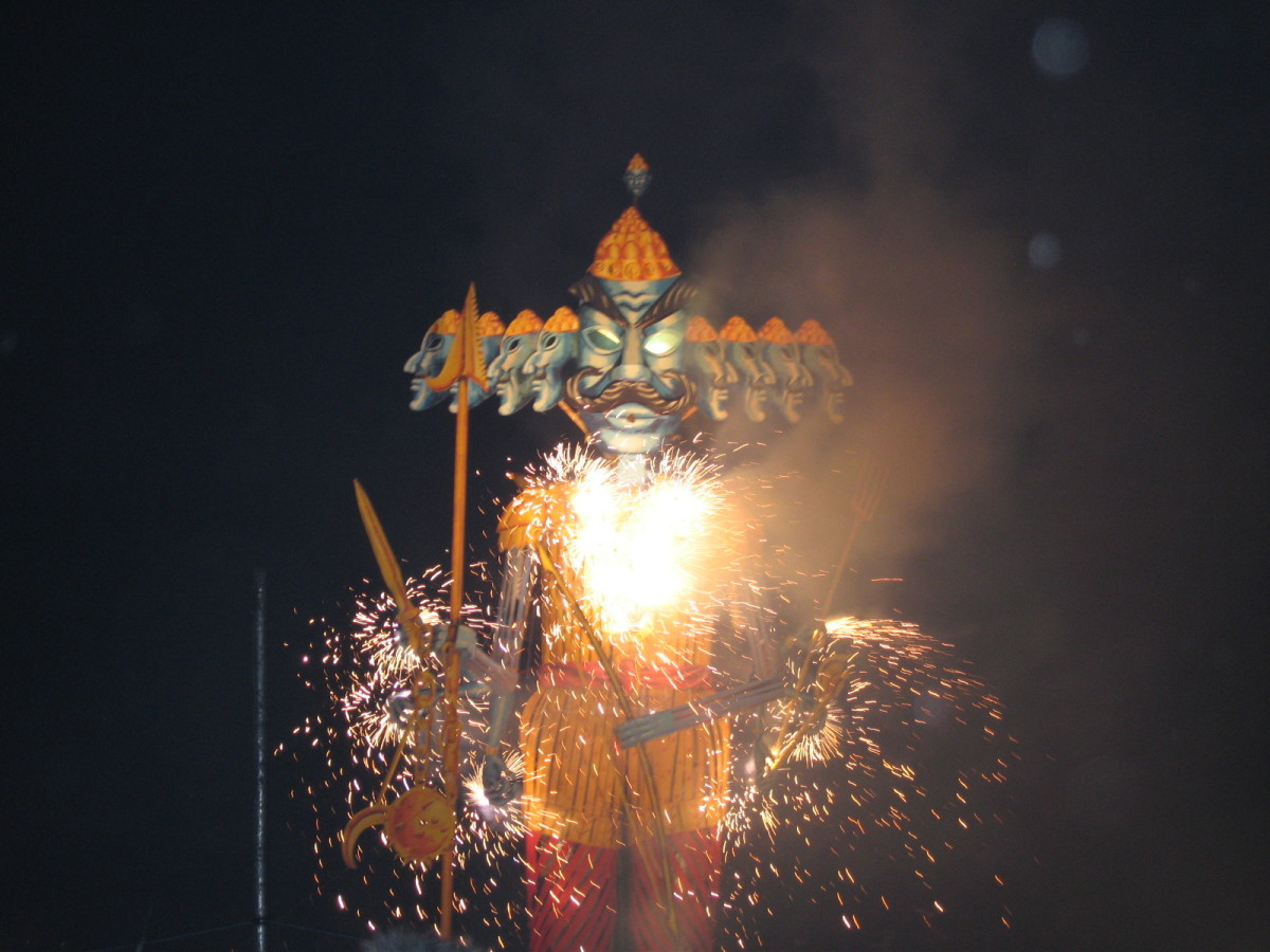 An effigy of Ravana is burned to symbolize the triumph of good versus evil.