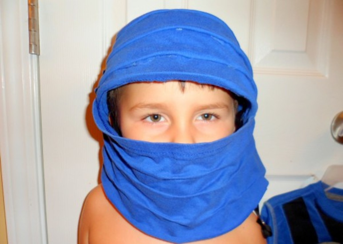My son showing off the finished hood.