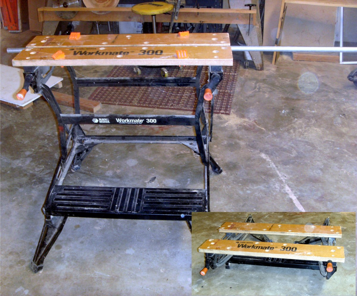 The Black and Decker workmate folds to a very small footprint for storage.
