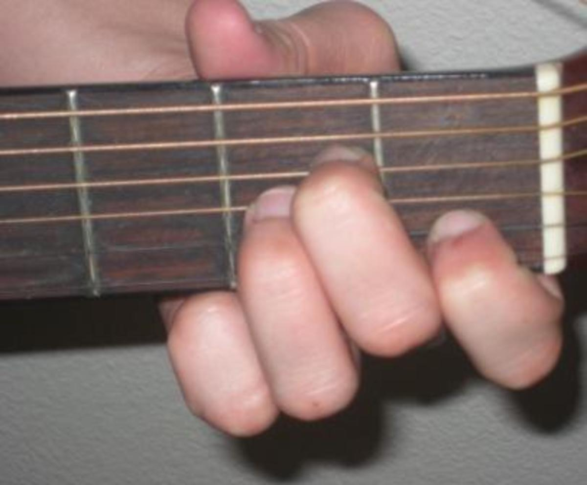A minor chord for guitar.