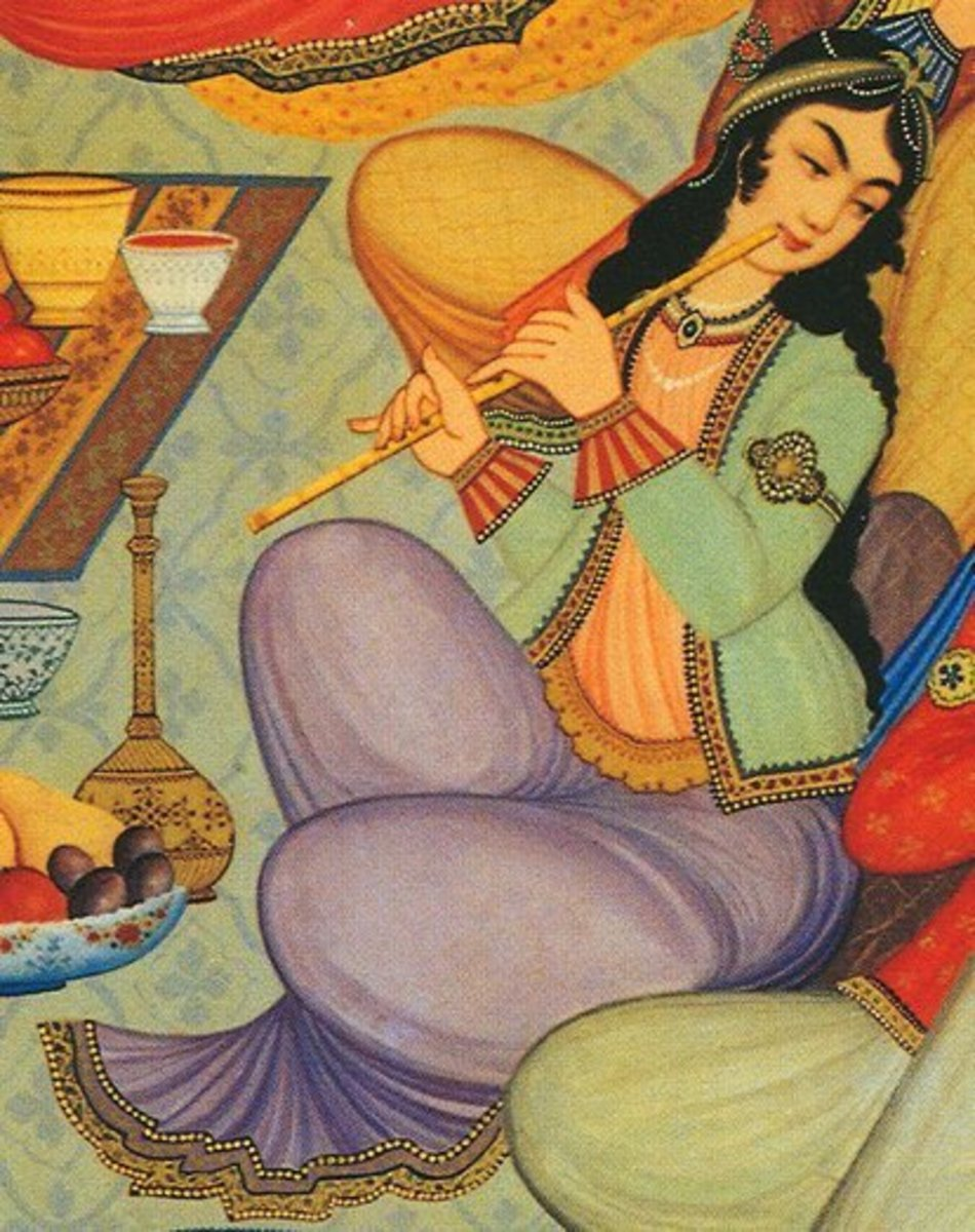 Woman playing the Ney (a painting from the Hasht Behesht Palace in Isfahan, Iran, 1669)/Photo from Wikimedia Commons