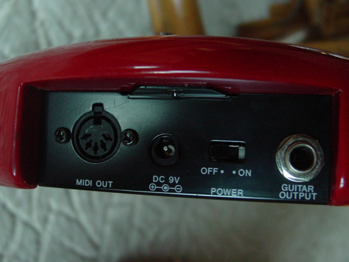 MIDI Out, 9-volt DC Power input, ON-OFF Switch, and Guitar Pickup Out Connector