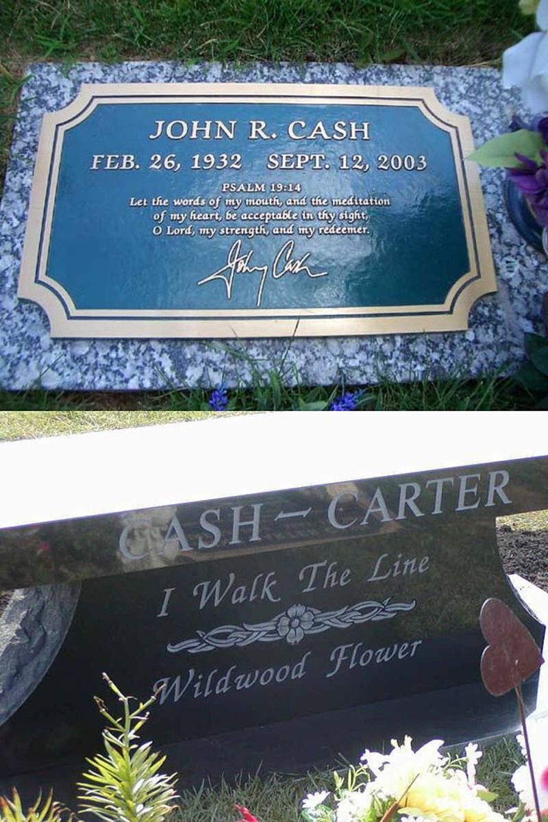 Cash's grave and the Cash/Carter memorial in Hendersonville Memory Gardens, Tennessee.