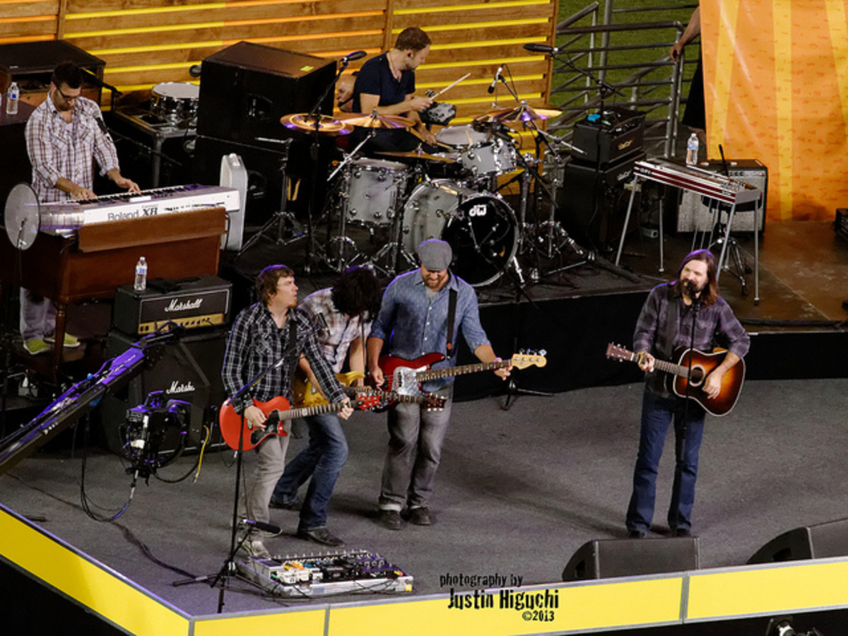 Third Day performing with other artists at Harvest Crusade in Los Angeles.