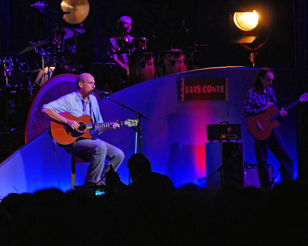 James Taylor on stage performing at Tanglewood.