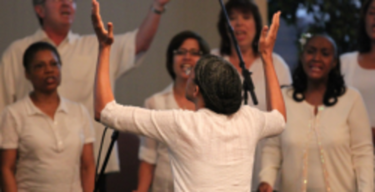 Photo of me directing the New Hope Gospel Choir