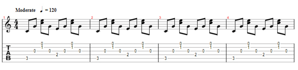 4 beat pattern on C major