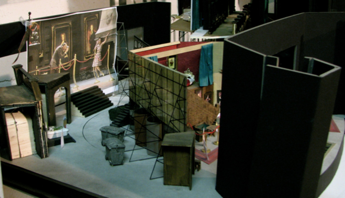 A model of a set, in the lighting museum at the Leipzig Opera.