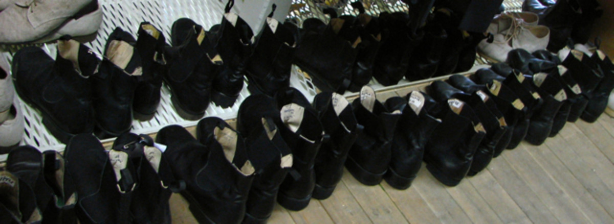 Boots ready and labelled for the next ballet performance, Leipzig Opera.