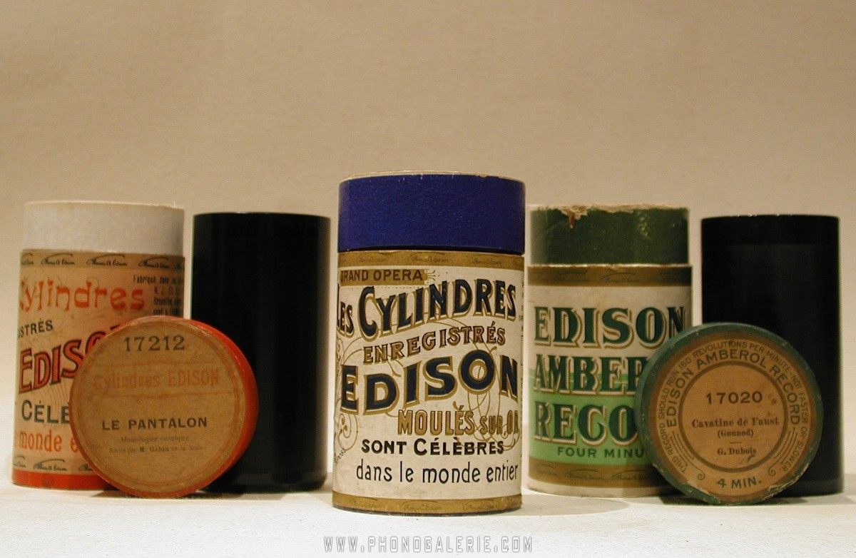 Canisters for the original wax cylinders used to create the first recordings.