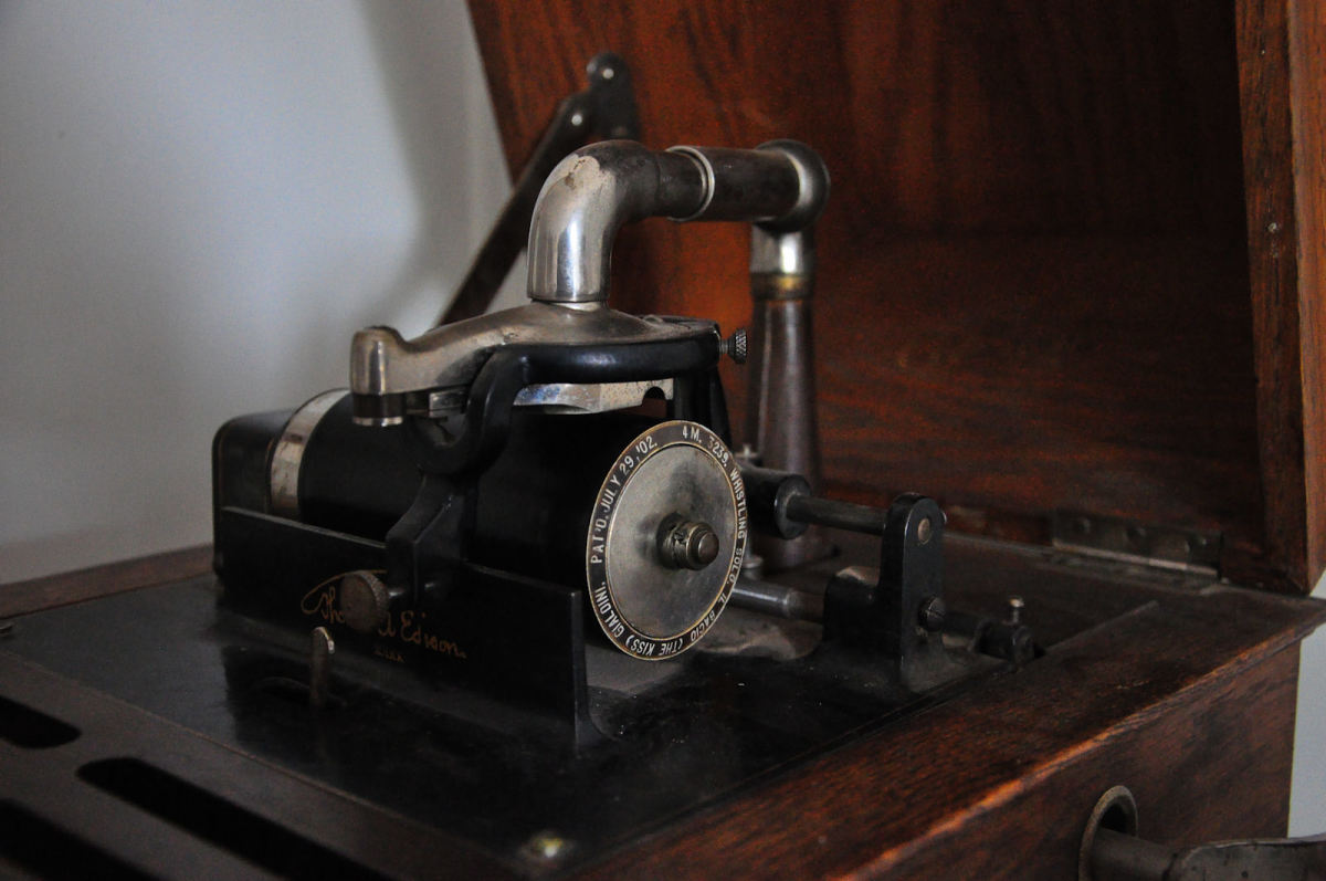 An original Edison recording machine.