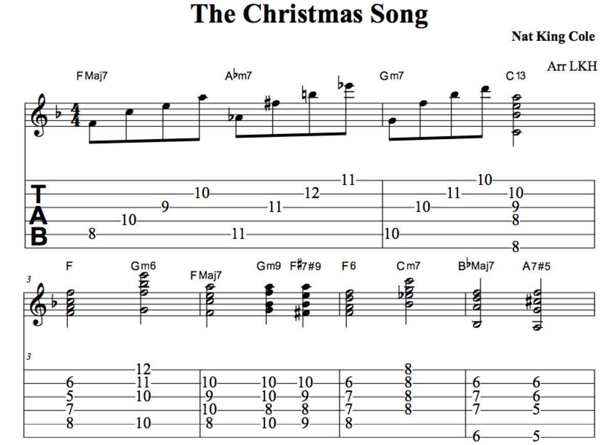 """Nat King Cole's """"Christmas Song"""": Guitar Chords, Melody, Tab, Video Lessons   Spinditty"""