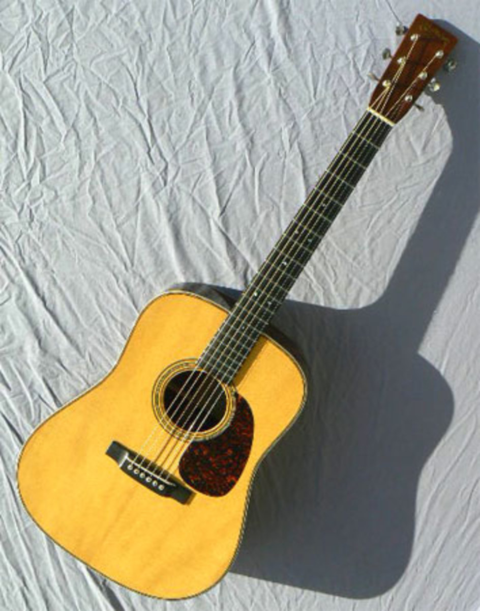 The Martin D-28GE frontal view