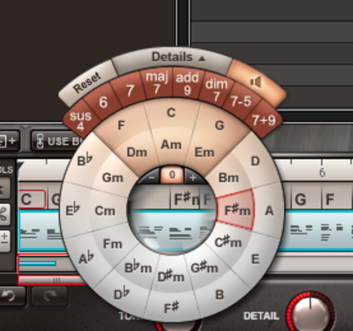 Chords can easily be changed using the sequencer