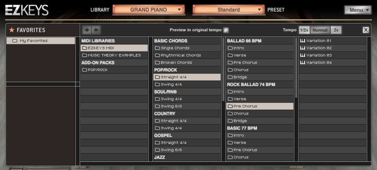 The EZKeys MIDI sample browser breaks patterns down by song part and variation