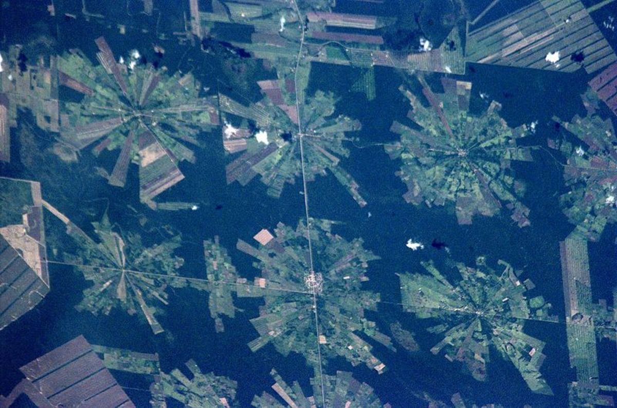 Satellite photo of deforestation taken place in Eastern Bolivia.