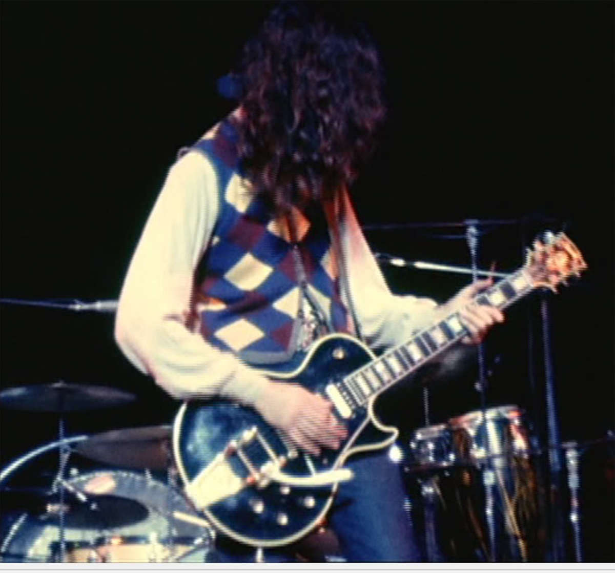 "Jimmy Page with his Gibson Les Paul ""Black Beauty,"" which was stolen and recovered many years later."