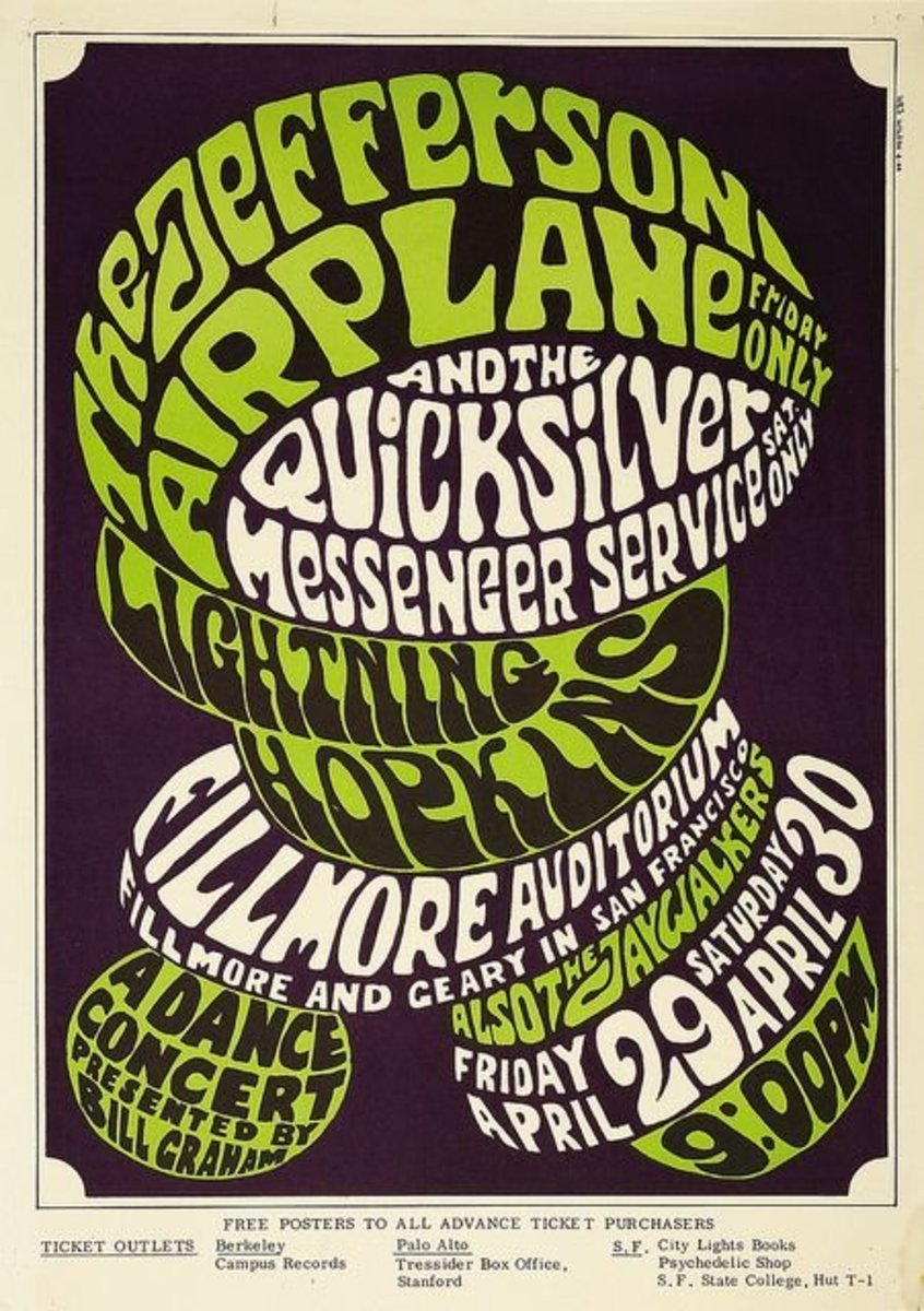 Vintage Jefferson Airplane Fillmore West Concert Poster BG-04 Bill Graham 1966 Poster Art and Graphic Design by Wes Wilson