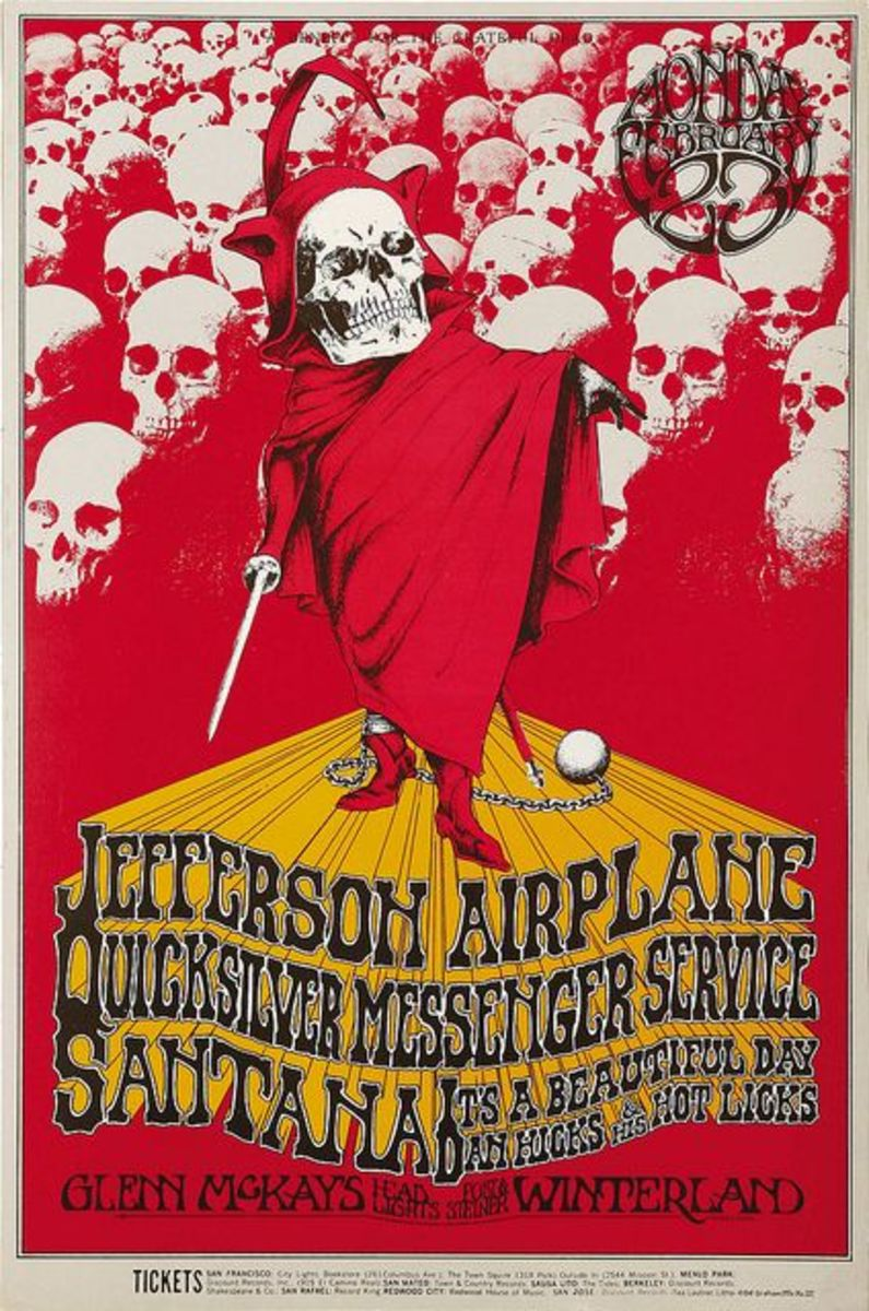 Vintage Jefferson Airplane A Benefit For The Grateful Dead Concert Poster BG-222 Bill Graham Presents 1970 Poster Art and Graphic Design by Randy Tuten