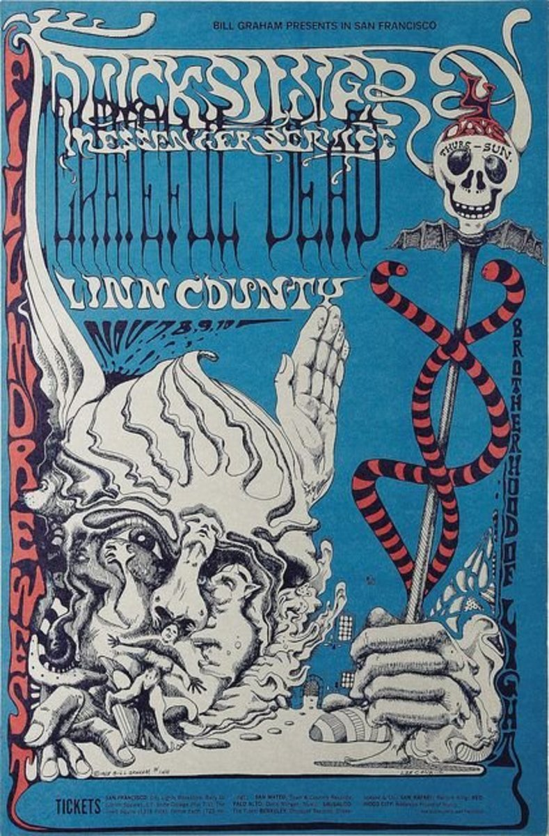Vintage Grateful Dead Fillmore West Concert Poster BG-144 Bill Graham 1968 Poster Art and Graphic Design by Lee Conklin