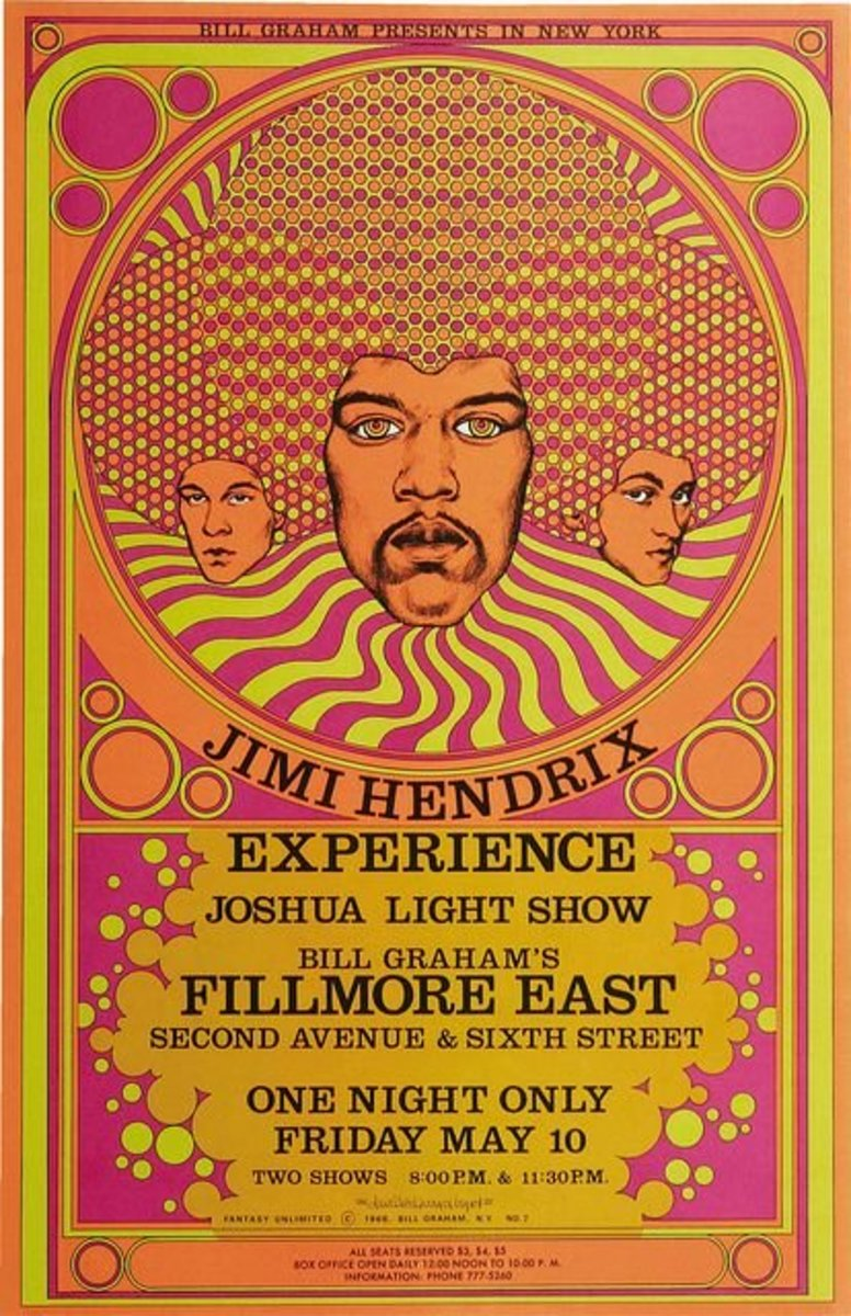Jimi Hendrix Experience Fillmore East Concert Poster Bill Graham / Fantasy Unlimited 1968 Poster Art and Graphic Design by David Byrd