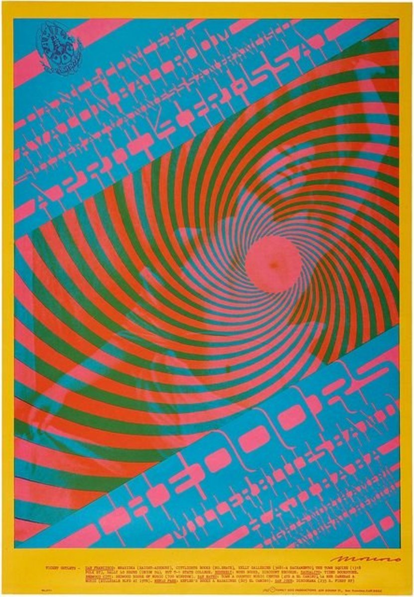 The Doors Avalon Ballroom Concert Poster FD-57 Family Dog 1967 Art and Graphic Design by Victor Moscoso