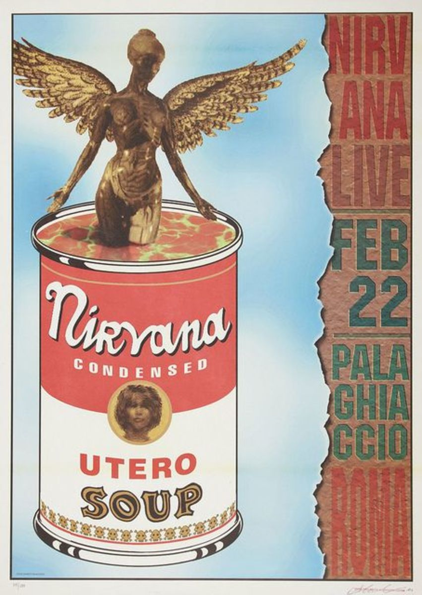 Nirvana Palaghiaccio Marino Rome Italy Concert Poster 1994 Graphic Design and Art by Alessandro Locchi
