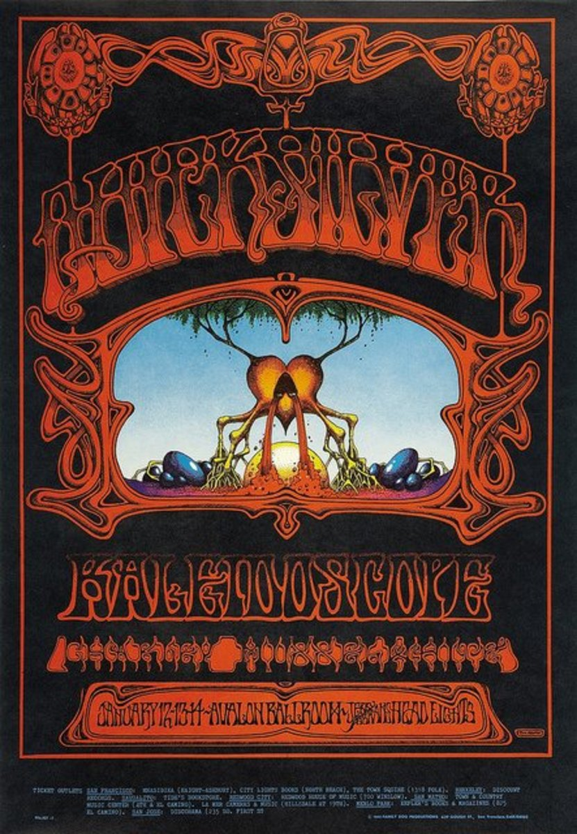 "Quicksilver Messenger Service, Kaleidoscope ""Eternal Reservoir"" Avalon Ballroom Concert Poster Family Dog FD-101 (1968).Rick Griffin Poster Art"