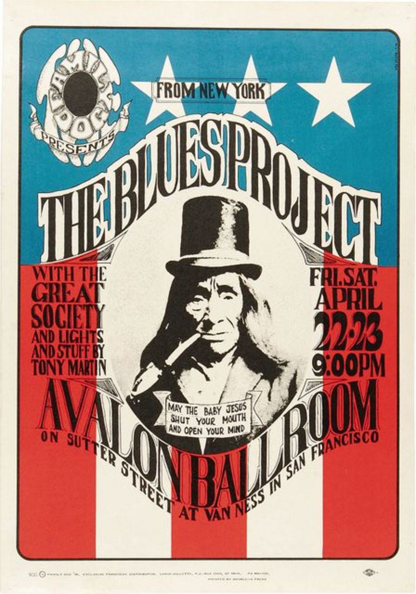 Blues Project Avalon Concert Poster FD-5-2 Family Dog 1966 Poster Art and Graphic Design by Wes Wilson