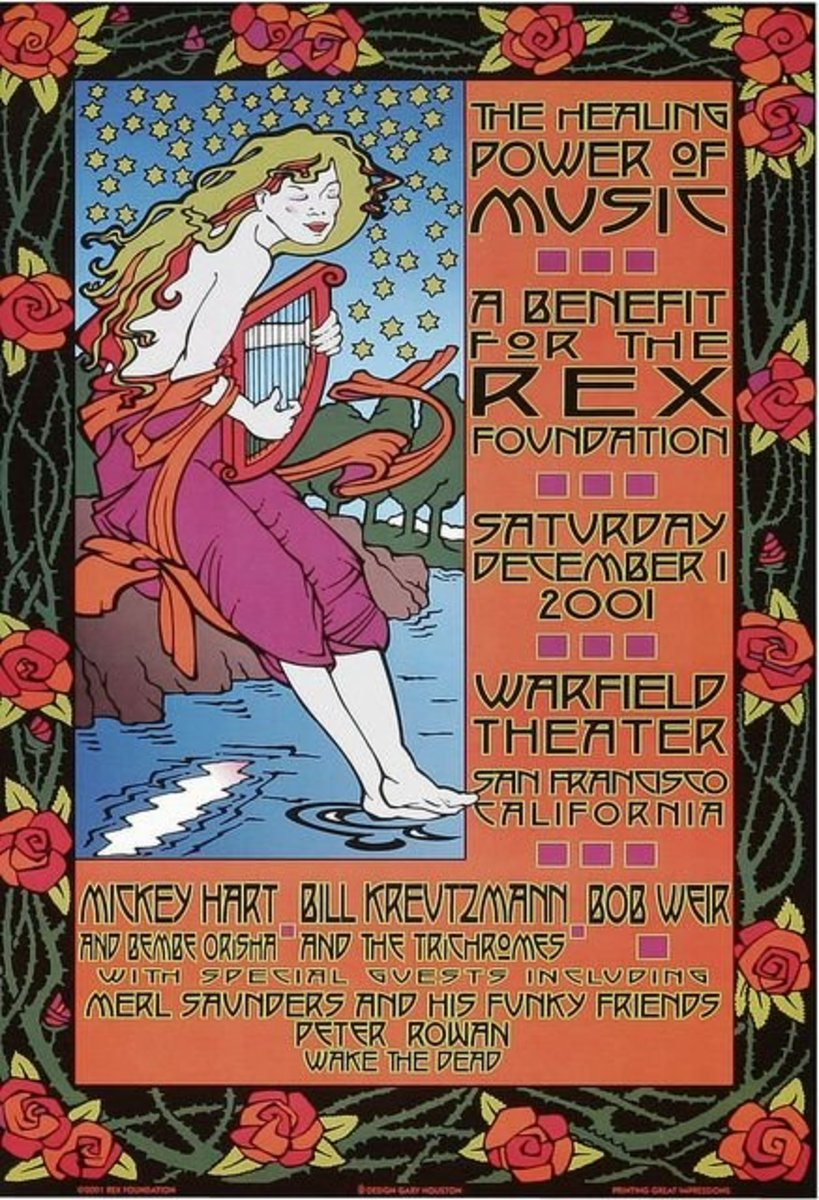 The Rex Foundation Poster, 2001 show at the Warfield Theater presented Micky Hart, Bill Kreutzmann and Bob Weir along with Merl Saunders, Peter Rowan and other friends of the band in a benefit for the Rex Foundation.