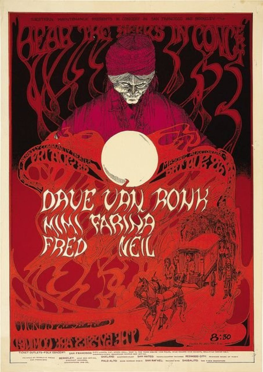 Dave Van Ronk, Mimi Farina, Fred Neil Hear the Seers in Concert Berkeley Concert Poster 1967 Poster Art and Graphic Design by Greg Irons Vintage Pop Art