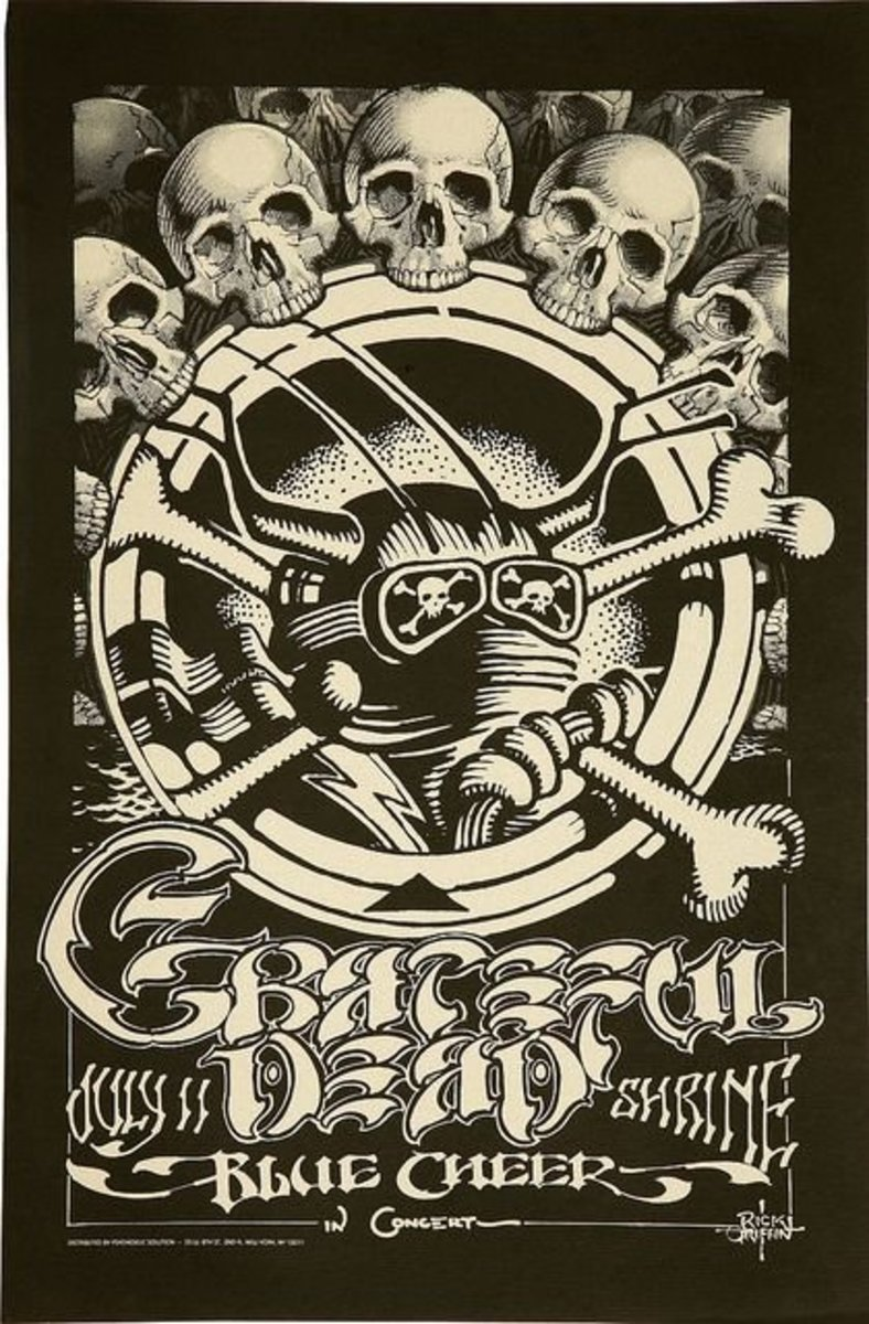 Vintage Grateful Dead with Blue Cheer poster Psychedelic Solutions Poster Art and Graphic Design by Rick Griffin Pop Art
