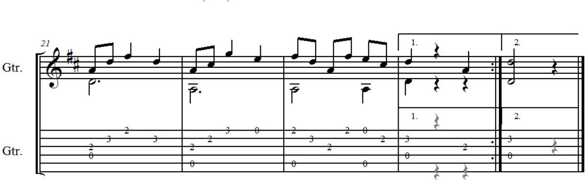 Carulli Waltz in D Guitar Tab and Notation