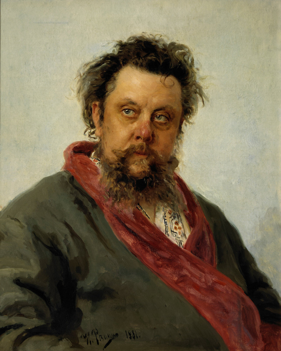 Ilya Repin's famous portrait of Mussorgsky, finished just days before his death.