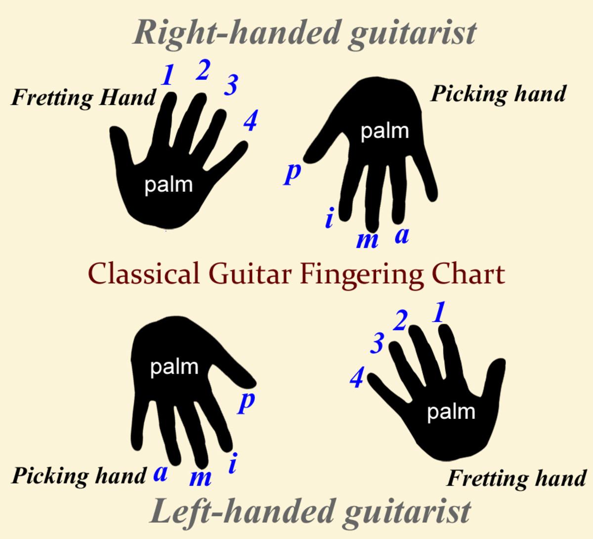 Classical guitar finger labels