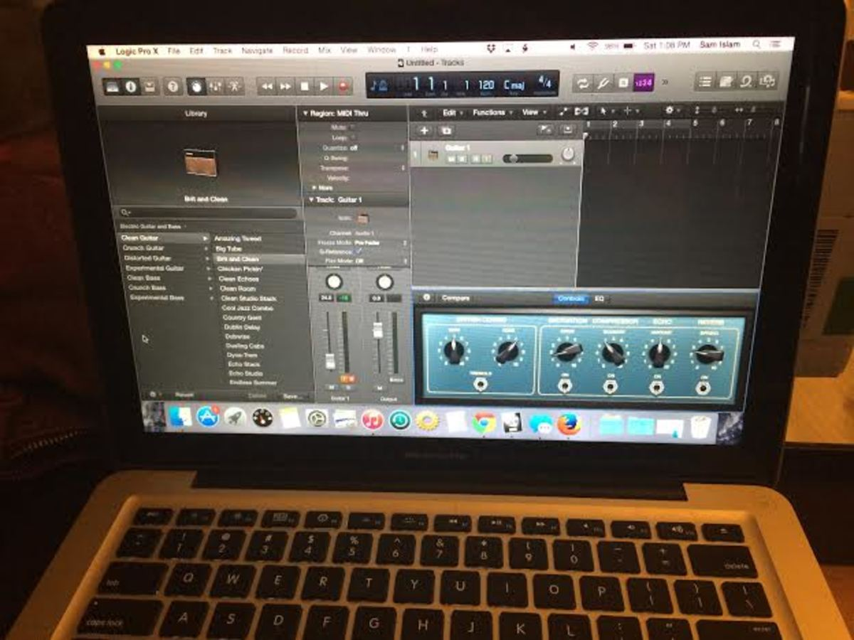 The Rocksmith Real Tone cable works great with the amp models in Logic Pro X.