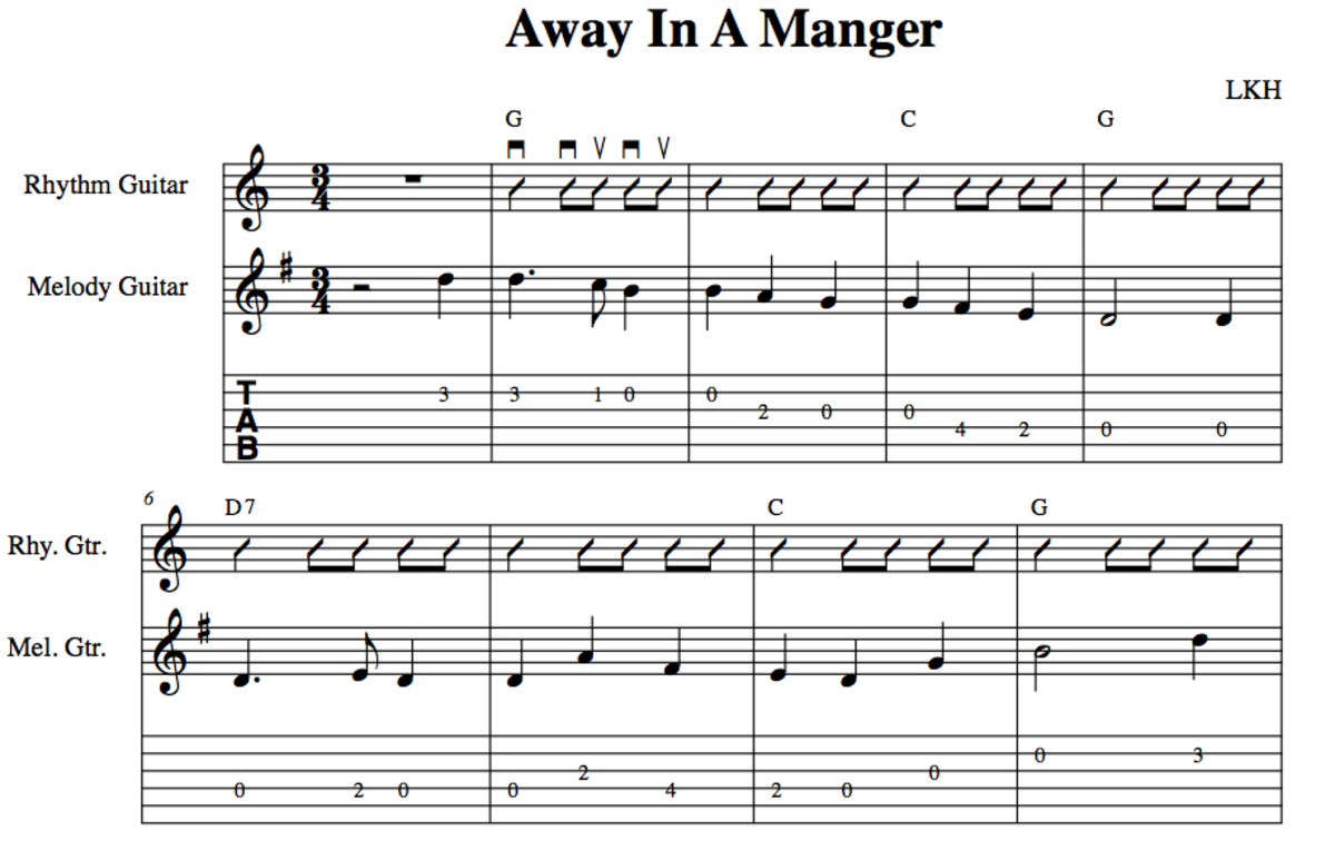 Easy Guitar Christmas Songs—Away In A Manger—Chords, Melody, Guitar ...