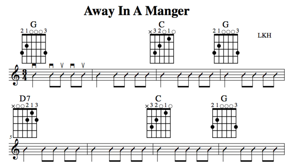 Easy Guitar Christmas Songsaway In A Mangerchords Melody Guitar