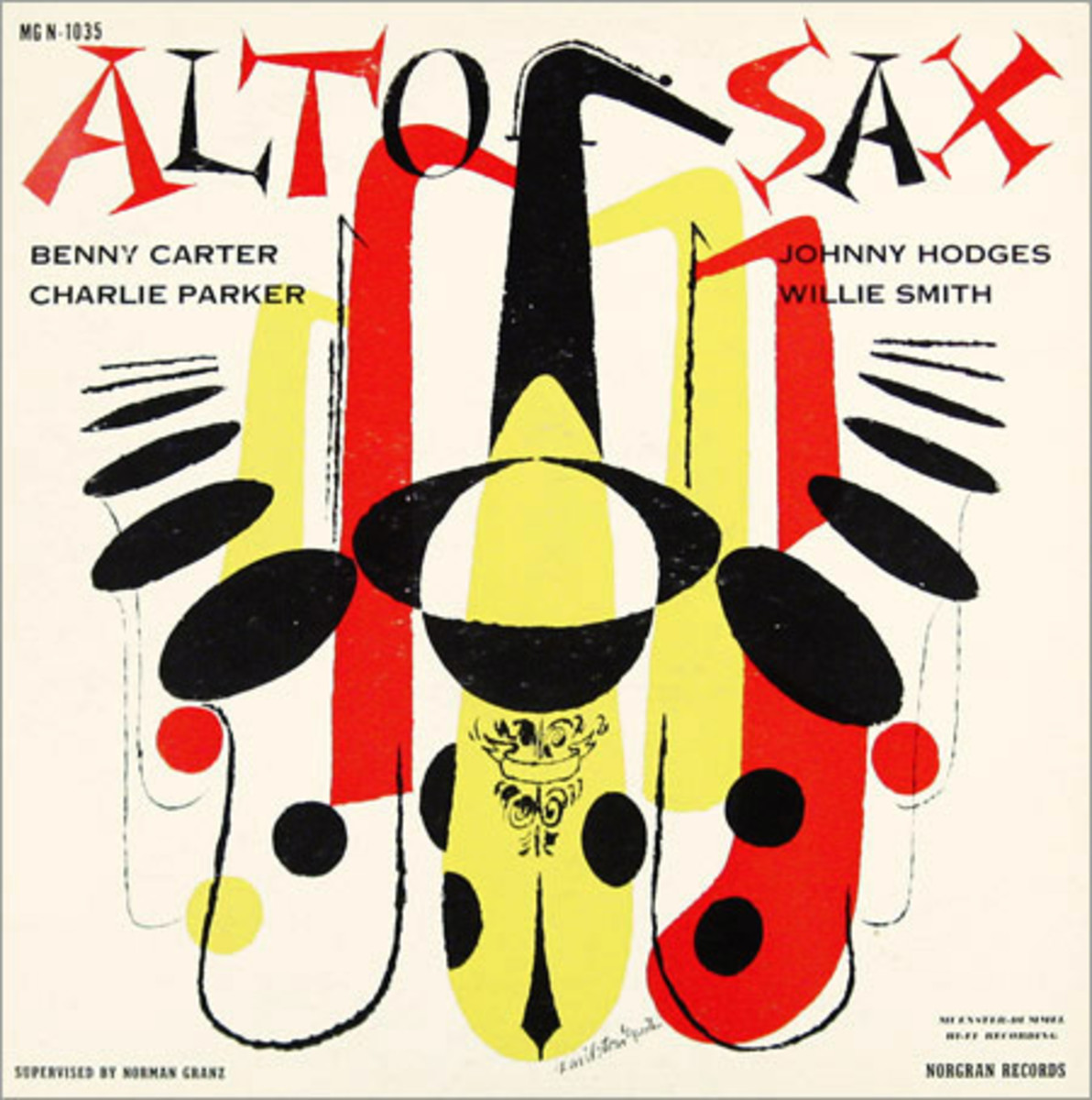 "Various Artist ""Alto Sax"" Norgran 1035 12"" LP Vinyl Record (1957) Album Cover Art by David Stone Martin"