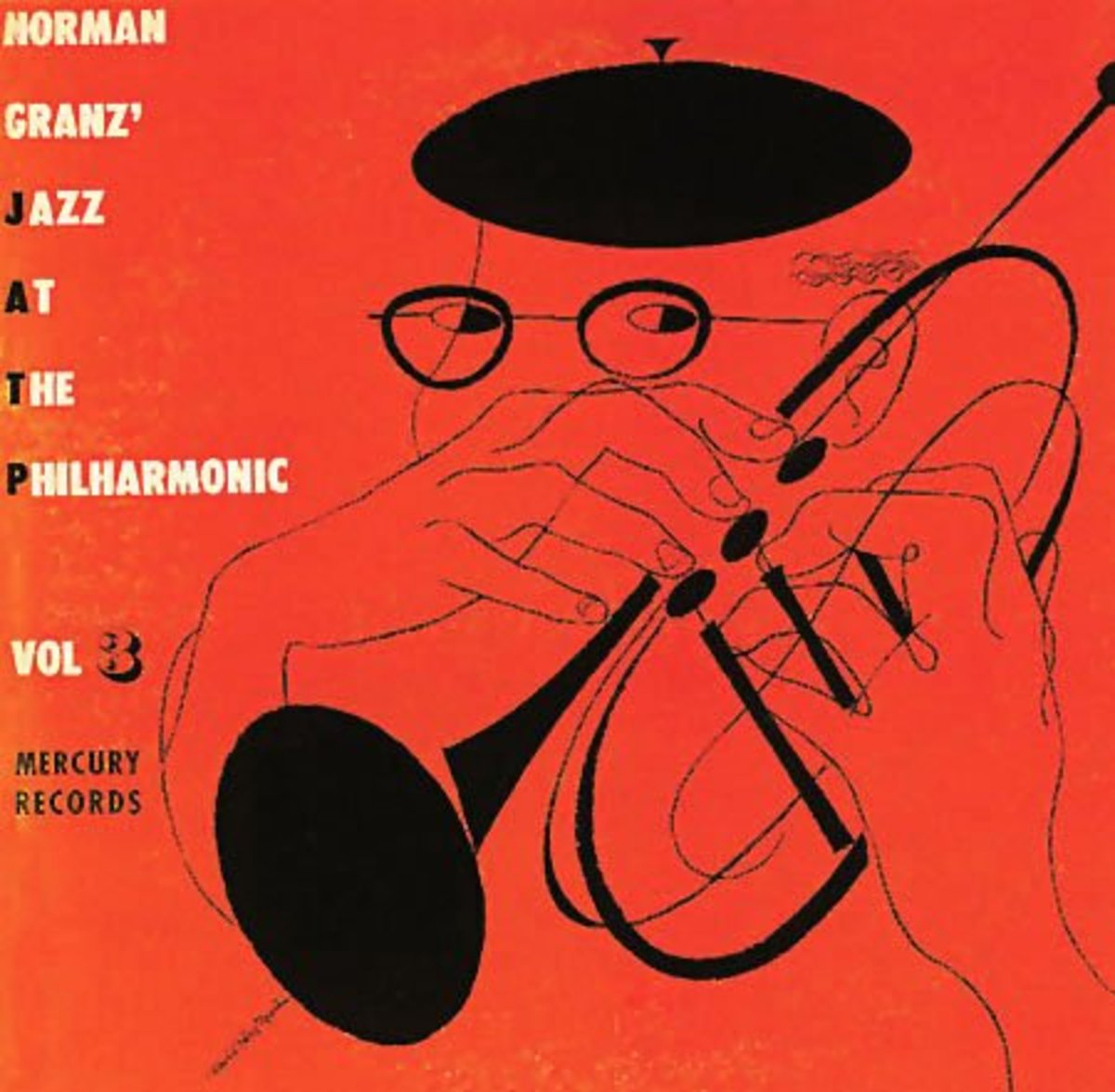 "Jazz at the Philharmonic, vol. 3 Mercury Records MG C 195 10"" LP Vinyl Record (1946) Album Cover Art by David Stone Martin Album Cover Art"