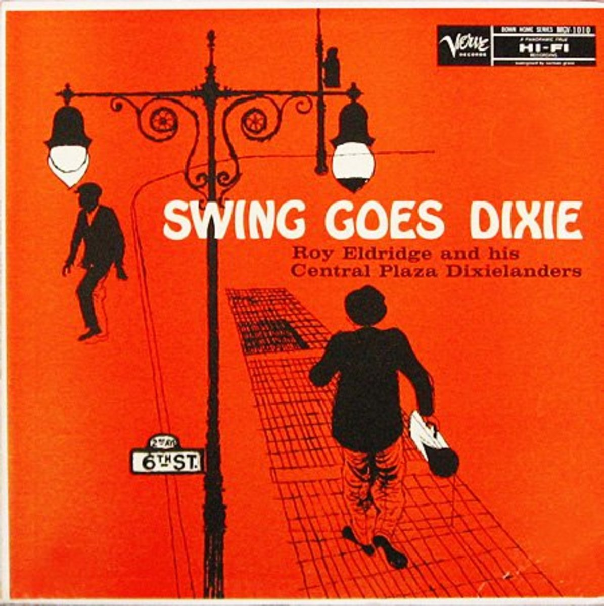 "Roy Eldridge ""Swing Goes Dixie"" Verve Records 1010 12"" LP Vinyl Record (1956) Album Cover Art by David Stone Martin"