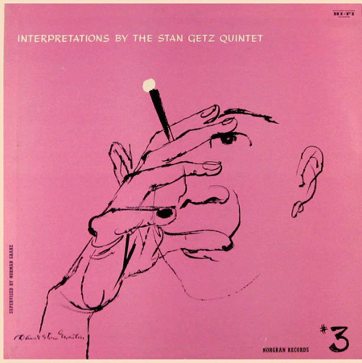 "Stan Getz ""Interpretations by the Stan Getz Quintet, vol. 3"" Norgran Records MG N 1029  12"" LP Vinyl Record (1955) Album Cover Art by David Stone Martin"