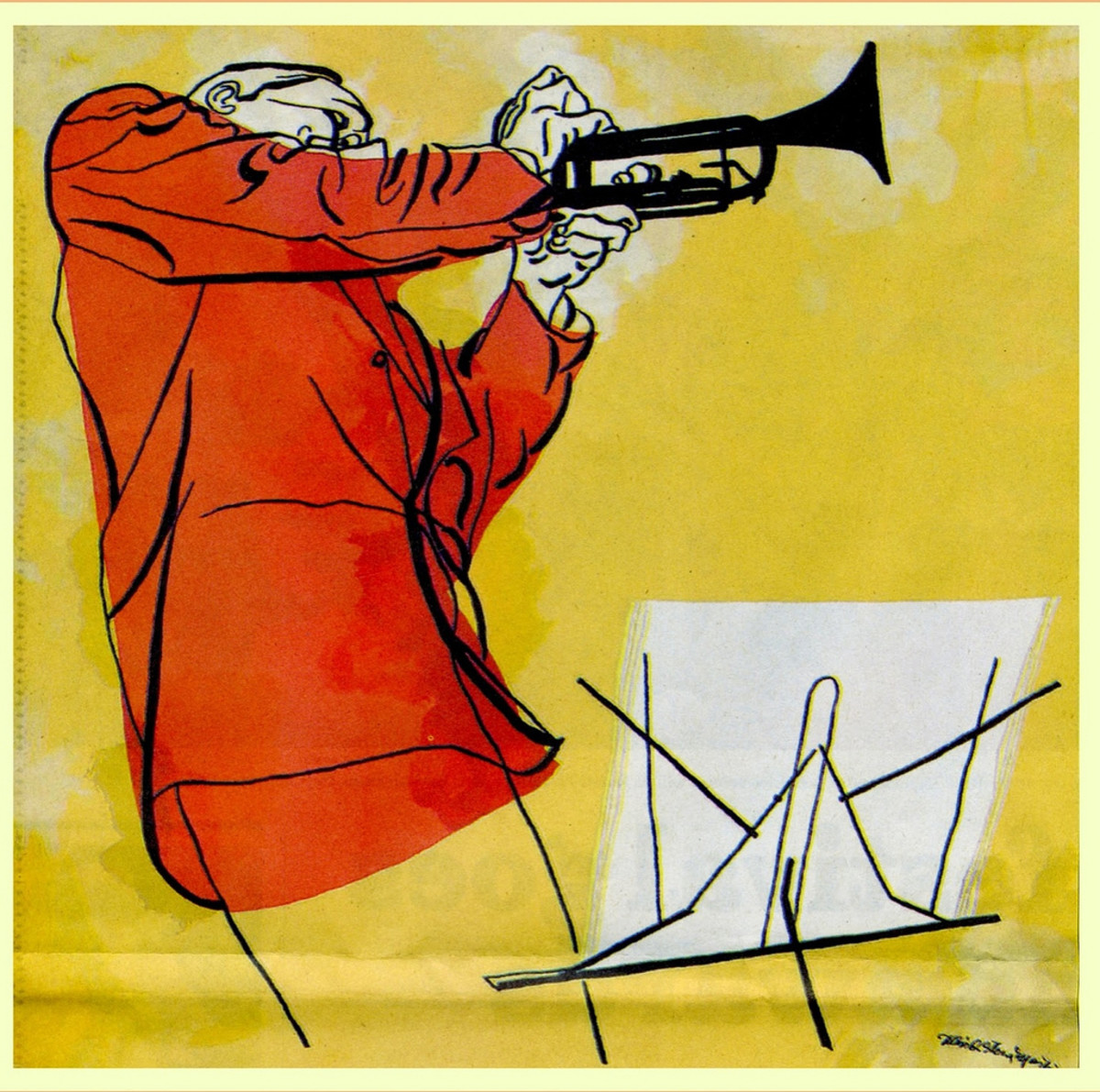 Trumpeter Logo Art Created for the Jazz at the Philharmonic Concerts or JATP for Norman Grantz