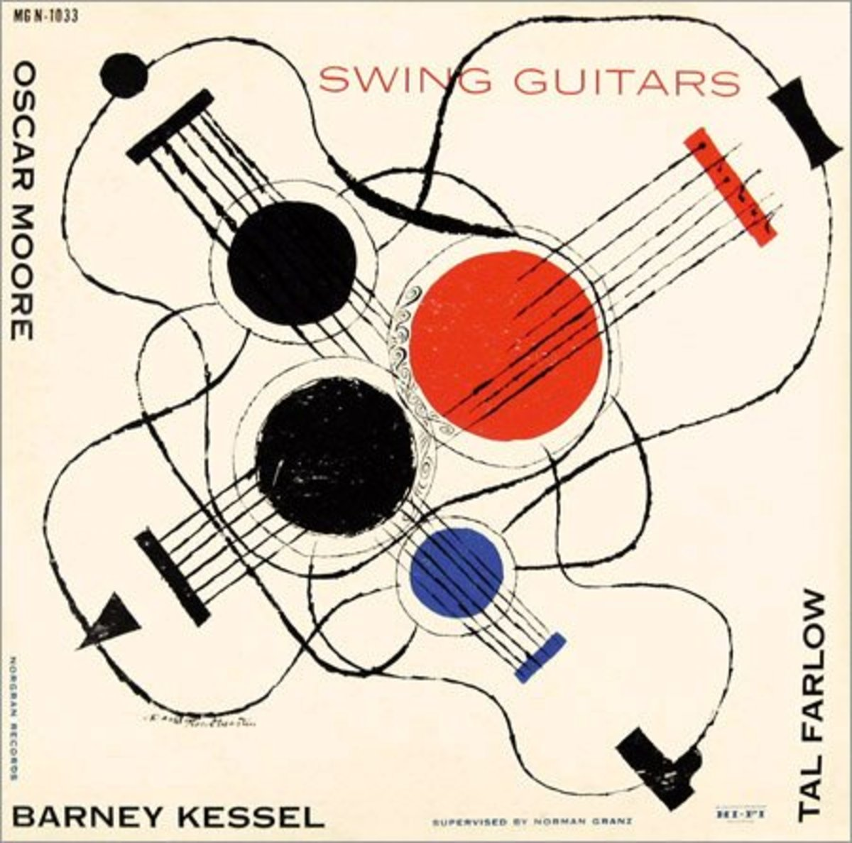 "Barney Kessel  ""Swing Guitars"" Norgran Records MG N 1033 12"" LP Vinyl Record (1955) Album Cover Art by David Stone Martin"