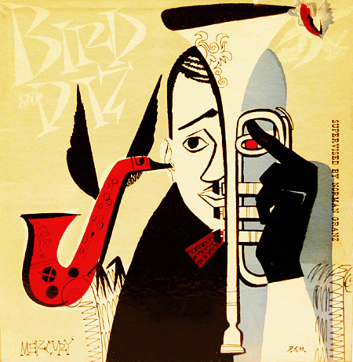 "Charlie Parker & Dizzy Gillespie ""Bird and Diz""  Mercury Records 512 10"" LP Vinyl Record, (1952) Album Cover Art by David Stone Martin"